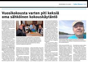 Sydän-Hämeen Lehti huomioi 22.4.2020 yhdistyksemme etäkokousmenettelyn, jolla vuosikokous toteutettiin onnistuneesti koronavirus-epidemian estämiseksi asetetuista kokoontumisrajoituksista huolimatta.
